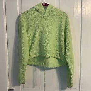 Wild Fable Cropped Light Green Hooded Sweatshirt L